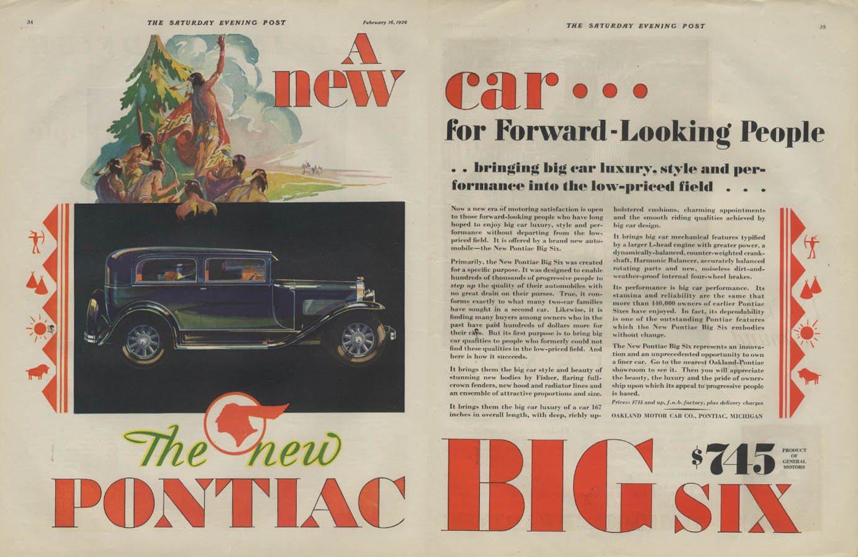 Big Qualities 1929 Pontiac Motor Division Big Six Ad Original Vintage Big Car